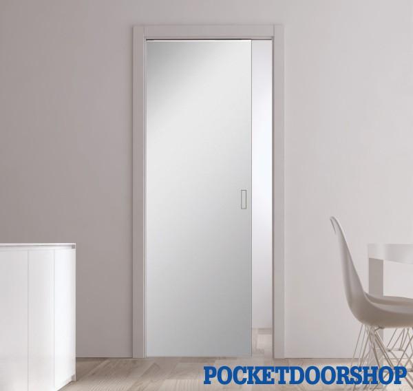 mirrored glass pocket door