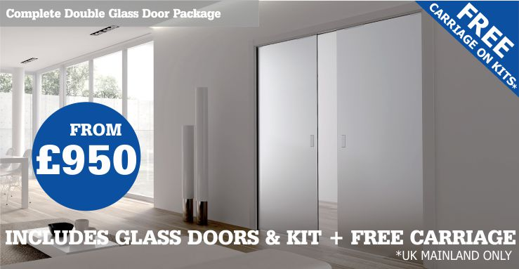 double glass pocket door